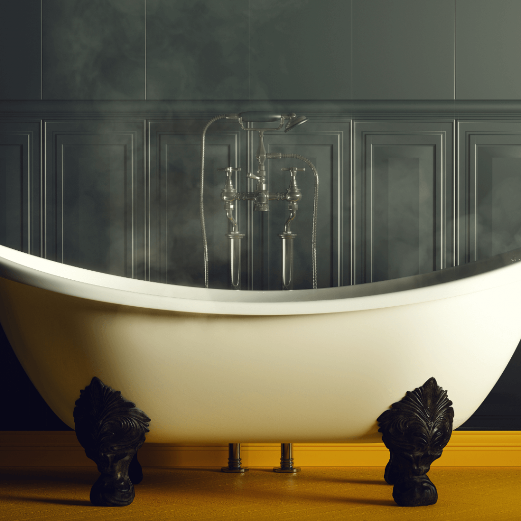 A hot bath with steam shown as a way to help you relax.